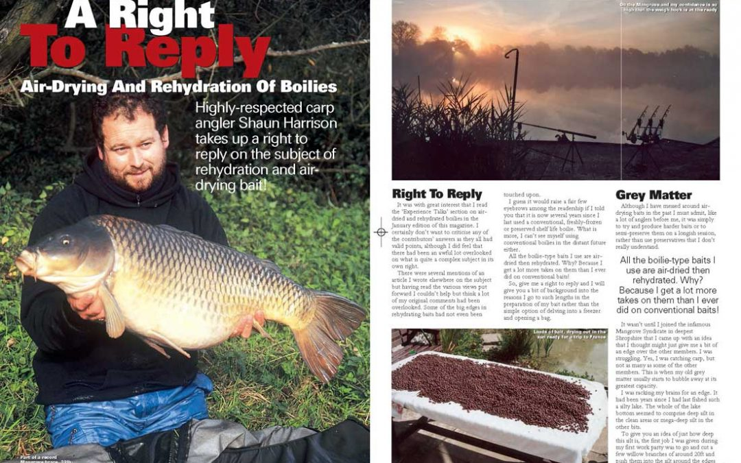 Air drying and rehydration of boilies