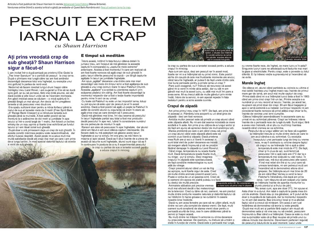 Extras articol Pescuit Iarna La Crap Extrem