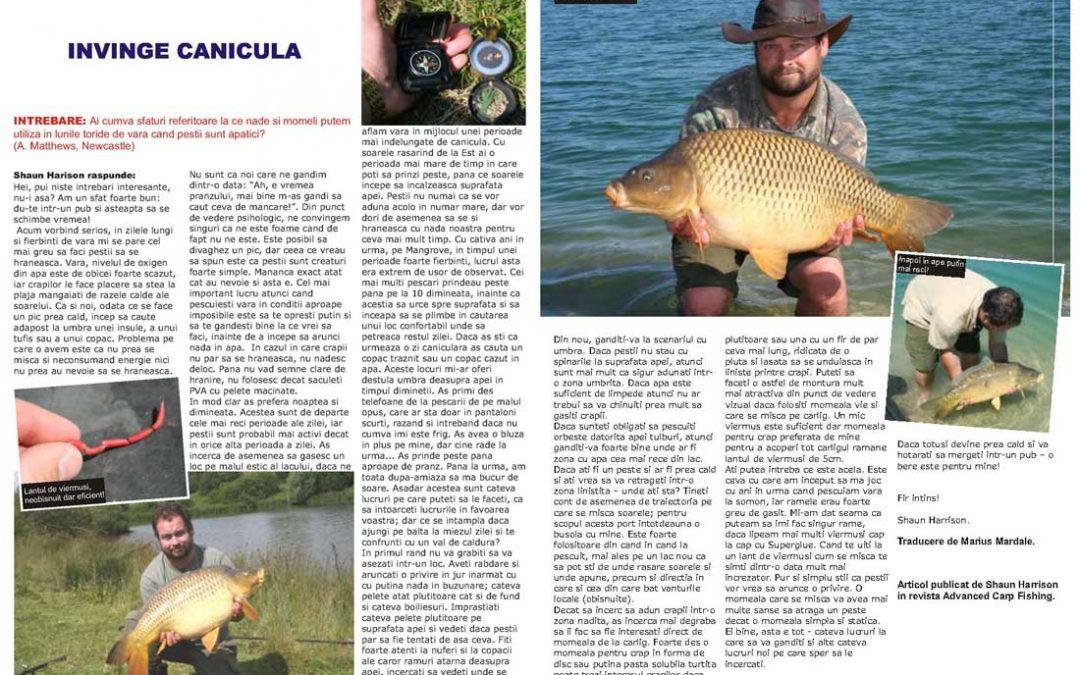 Tehnici de pescuit la crap vara; ÎNVINGE CANICULA
