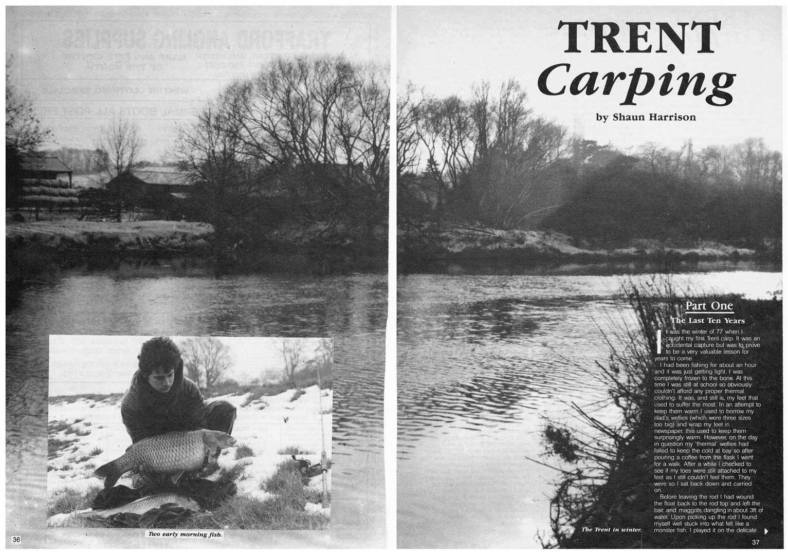 articol despre pescuitul la crap pe râul Trent